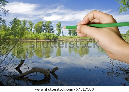 Young boy draw a summer landscape - stock photo