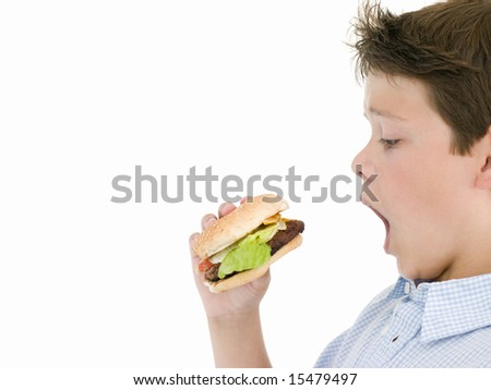 Young boy eating cheeseburger - stock photo