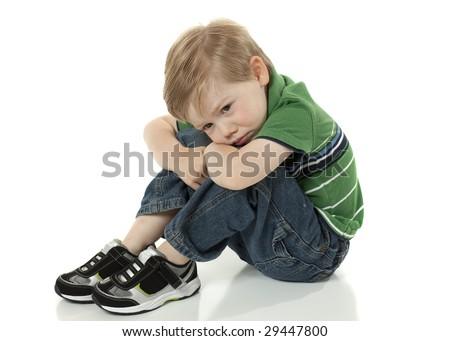 Young Boy feeling Sad - stock photo
