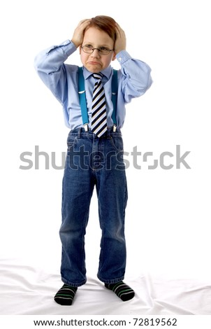 Young boy gesturing - stock photo
