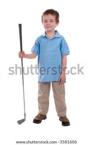 young boy holding a golf club isolated over white - stock photo