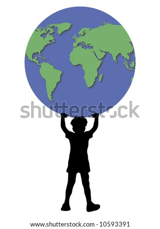 young boy holding up world