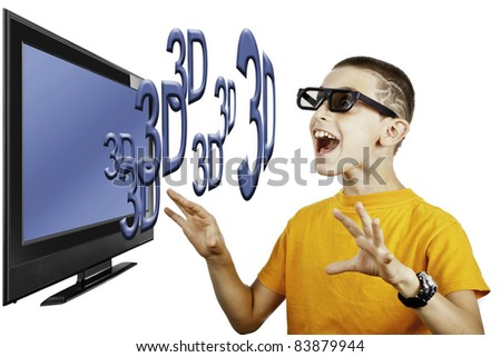 young boy impress by 3D images on TV - stock photo