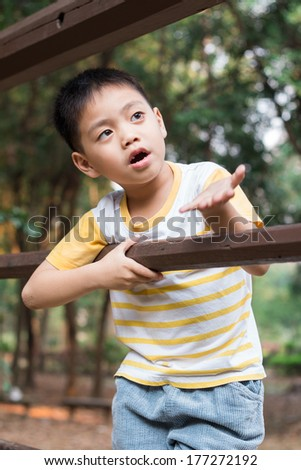 Young boy Interest Someting  - stock photo
