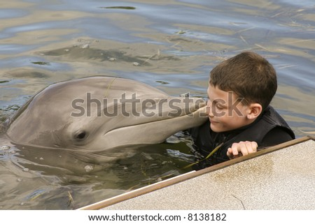 Young Boy is Being Kissed by a Bottle-Nose Dolphin - stock photo