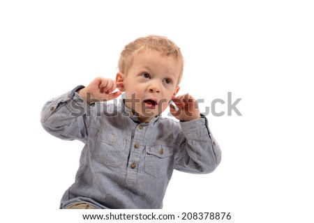 young boy is glad on white background