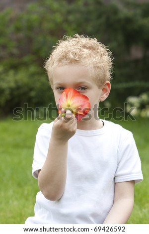 Young boy is trying to figure out what his nose will find. - stock photo