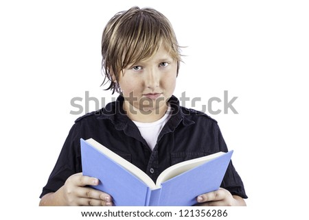 Young boy isolated on white holding an open book - stock photo