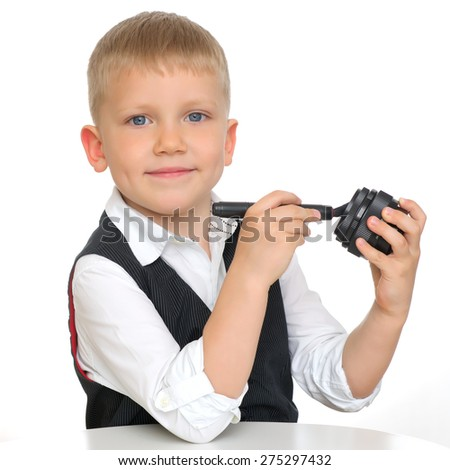 Young boy on a white background - stock photo