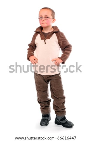Young boy  on a white background. - stock photo