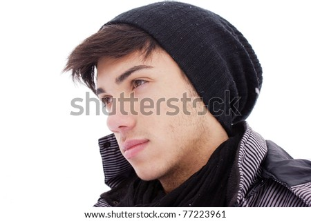young boy on a white background.