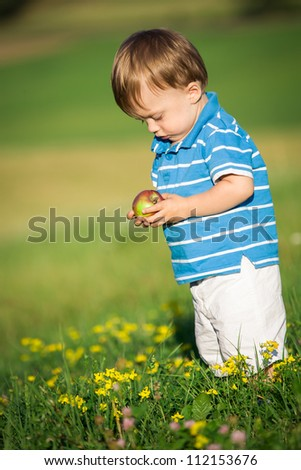 young boy on the meadow at sunny day - stock photo