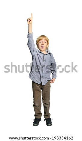 Young boy on white - stock photo