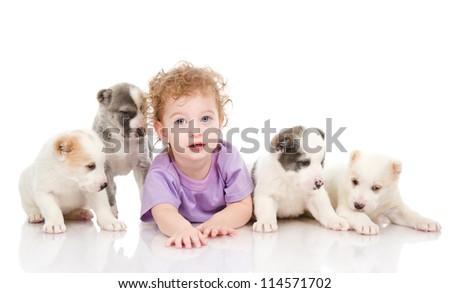 Young Boy Playing with Dogs. isolated on white background