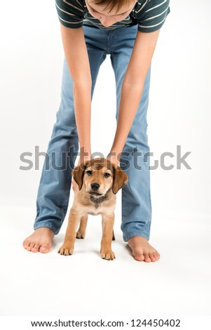 Young Boy Playing with His Puppy - stock photo
