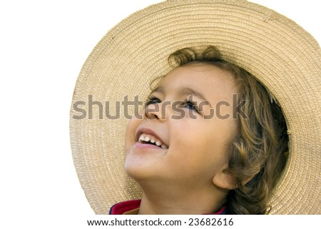 young boy portrait with hat - stock photo