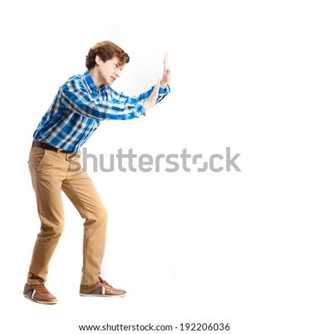 young boy pushing gesture - stock photo