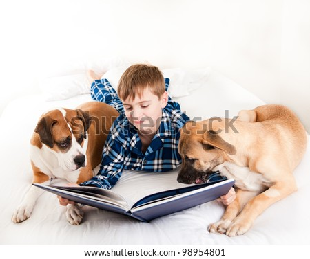 Young Boy Reading Book to His Dogs - stock photo