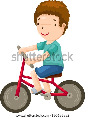 young boy riding a bicycle.jpg  (EPS vector version id 130017044,format also available in my portfolio) - stock photo