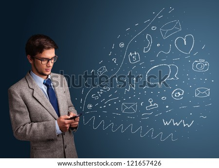 Young boy typing on smartphone with various modern technology icons and symbols - stock photo