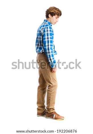 young boy wait gesture - stock photo