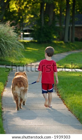 Young Boy Walking Dog - stock photo