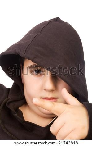 young boy wearing hood studio shot on white - stock photo