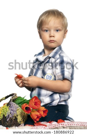 Young boy with a bouquet of flowers as a gift for birthday, mothers day or valentine's day