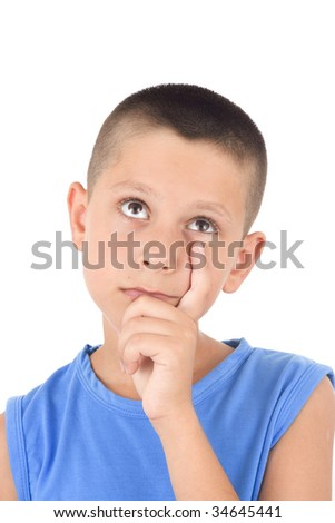 young boy with a pensive expression isolated on white - stock photo