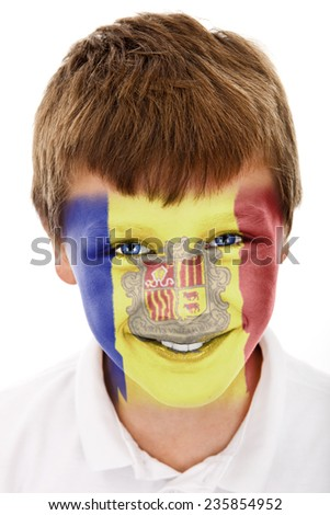 Young boy with andorra flag painted on his face