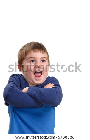 Young boy with arms crossed and excited expression, isolated on white - stock photo