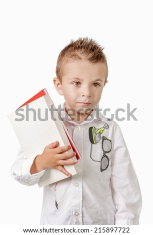 Young boy with books preparing to school