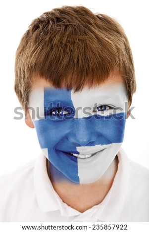 Young boy with finland flag painted on his face - stock photo