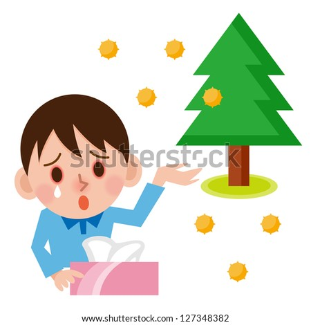 Young boy with hay fever sneezing in a tissue - stock photo