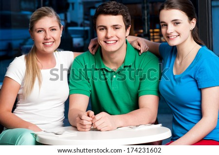 Young boy with his friends, posing together - stock photo