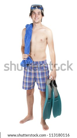 Young boy with pallets isolated on white background - stock photo
