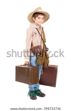 Young boy with suitcases playing Safari isolated in white - stock photo