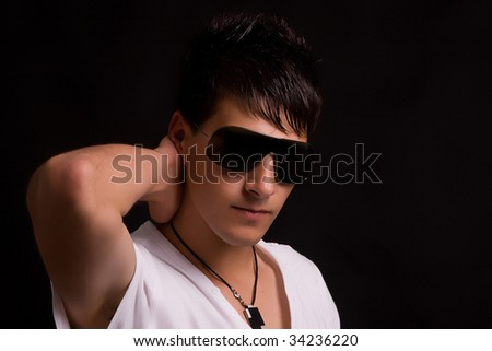 Young boy with sunglasses portrait, isolated over white