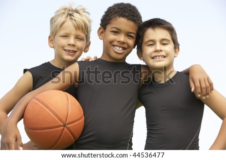 Young Boys In Basketball Team - stock photo