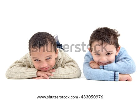Young boys posing isolated in white - stock photo