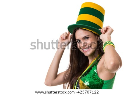 Young Brazilian woman on white background