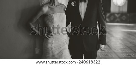 young bride an groom together - stock photo