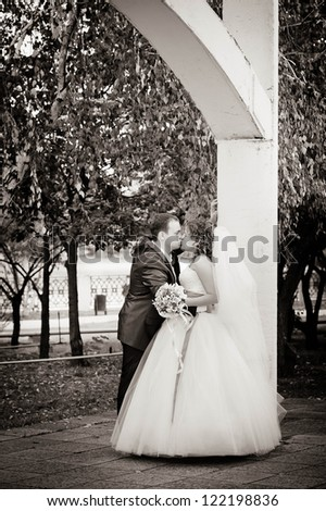 young bride and groom - stock photo