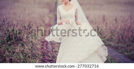 Young bride in summer field.  - stock photo
