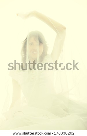 Young bride isolated on white background - stock photo