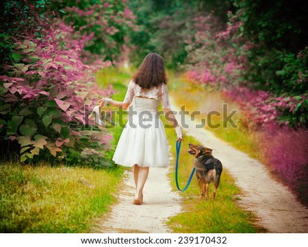 Young bride wearing wedding dress walking barefoot with dog on rural road back to camera. Woman bring wedding shoes. Vintage color - stock photo