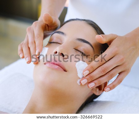 young brunette cosmetics beauty - stock photo