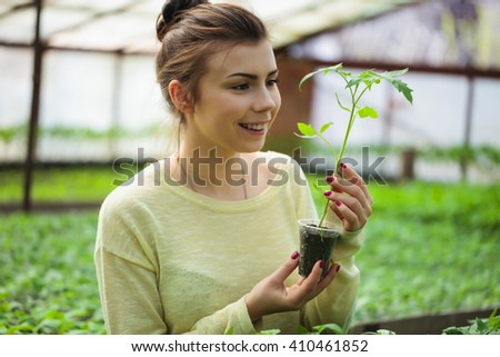 Young brunette farmer woman taking care of green seedling plants in greenhouse with happy smile. She is satisfied of how her vegetables sprouts grow in cultivated land under the sun in this hothouse.  - stock photo
