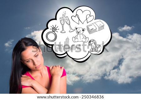 Young brunette with sad facial expression against blue sky with clouds and sun - stock photo