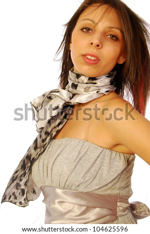 Young brunette woman in elegant gray suit 111 - stock photo